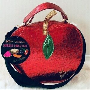 Betsey Johnson glitter Apple lunch tote.